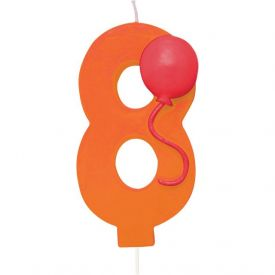 Candle Numeral 8 Molded with Balloon