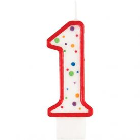 Candle Numeral 1 Polka Dot