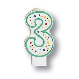 Candle Numeral 3 Polka Dot