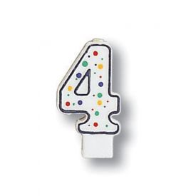 Candle Numeral 4 Polka Dot