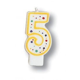 Candle Numeral 5 Polka Dot
