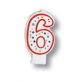 Candle Numeral 6 Polka