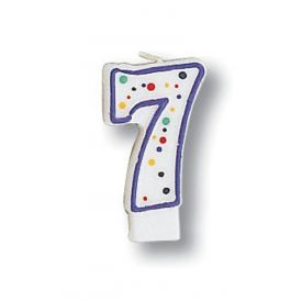 Candle Numeral 7 Polka Dot