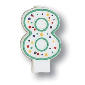 Candle Numeral 8 Polka Dot