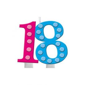 Bright And Bold Candle Molded Numeral 18 with Balloon