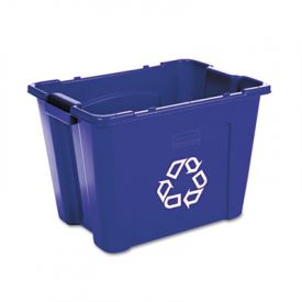 Rubbermaid® Commercial Stacking Recycle Bin, Rect., 14 gal, Blue