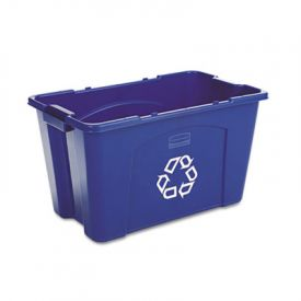 Rubbermaid® Commercial Stacking Recycle Bin, Rect., 18 gal, Blue