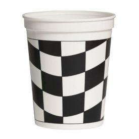 Black & White Check Plastic Cup, Stadium 16 oz