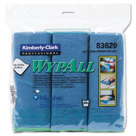 WypAll* Microfiber Cloths with Microban; Protection, 15 3/4 x 15 3/4, Blue