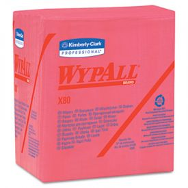 WypAll* X80 Wipers, 1/4-Fold, HYDROKNIT, 12 1/2 x 13, Red