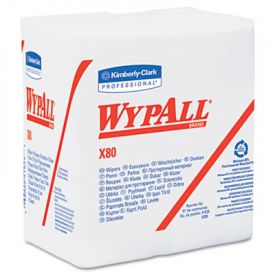 WypAll* X80 Wipers, 1/4-Fold, HYDROKNIT, 12 1/2 x 13, White
