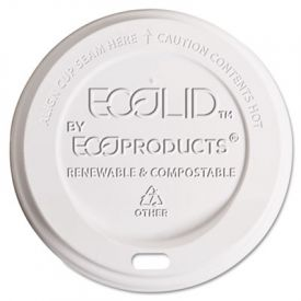 Eco-Products® EcoLid® Hot Cup Lid, 10-20 oz, White