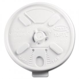 Dart® Lift n' Lock Plastic Hot Cup Lids, Fits 10-oz. Cups, White