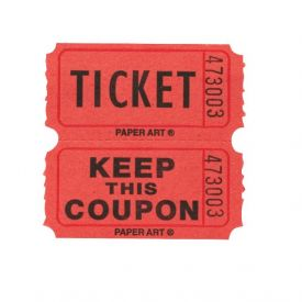 Tickets, 50/50 Raffle, Red/Blue/Orange/Green