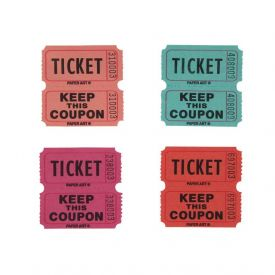 Tickets, 50/50 Raffle, Pink/Purple/Red/Green