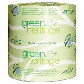 Atlas Paper Mills Green Heritage Toilet Tissue, 1-Ply, White