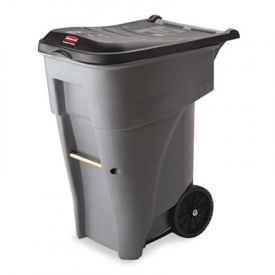 Rubbermaid® Commercial Brute Roll-Out Heavy-Duty Container, 65 gal, Gray