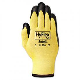 AnsellPro HyFlex Kevlar® Work Gloves, Black/Yellow, Size 10