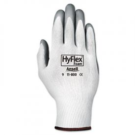 AnsellPro HyFlex Foam Nitrile-Coated Nylon-Knit Gloves, White/Gray, Size 8