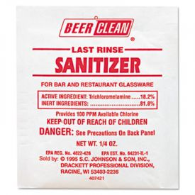 Diversey™ Beer Clean® Last Rinse Sanitizer, Powder, 1/4 oz. Packet