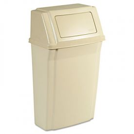 Rubbermaid Commercial Slim Jim  Wall-Mounted Container, Rect. 15 gal, Beige