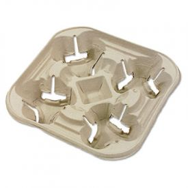 Chinet® StrongHolder Molded Fiber Cup Tray, 8-22oz, Four Cups