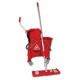 Unger® Side-Press Restroom Mop Bucket FloorPack, 8gal, Plastic, Red