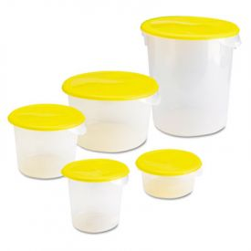 Rubbermaid® Commercial Round Storage Containers, 2qt, 8 1/2dia x 4h, Clear