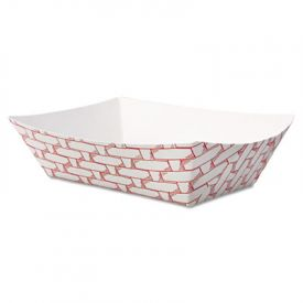 Boardwalk® Paper Food Baskets, 8oz Cap., Red/White