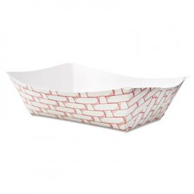 Boardwalk® Paper Food Baskets, 3lb Cap., Red/White