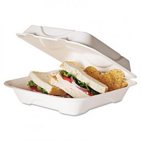 Eco-Products® Sugarcane Clamshell Food Container,  9 x 9 x 3