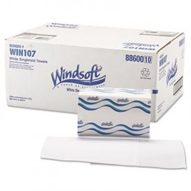 Windsoft® Folded Paper Towels, 1-Ply, 9 9/20 x 9, White,