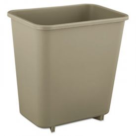 Rubbermaid® Commercial Deskside Plastic Wastebasket, Rect, 2 gal, Beige