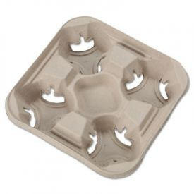 Chinet® StrongHolder Molded Fiber Cup Tray, 8-32oz, Four Cups