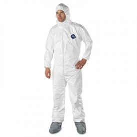 DuPont® Tyvek Elastic-Cuff Hooded Coveralls w/ Attached Boots, Size L