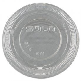 SOLO® Cup No-Slot Plastic Cup Lids, 3.25-9oz Cups, Clear