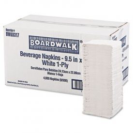 Boardwalk® Cocktail Napkins, 1-Ply, 9 1/2 x 9, White