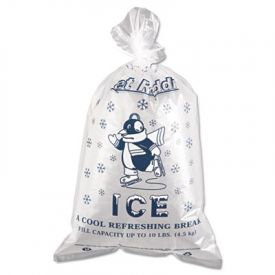 Inteplast Group Ice Bags, 12 x 21, 10-lb. Cap., 1.50 Mil, Clear/Blue,