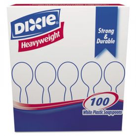 Dixie® Plastic Cutlery, Heavyweight Soup Spoons, White