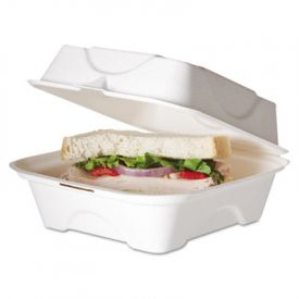 Eco-Products® Bagasse Hinged Clamshell Containers, 6w x 6d x 3h