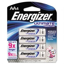 Energizer® Ultimate Lithium Batteries, AA, 4 Batteries/Pack