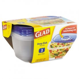Glad® GladWare; Plastic Containers with Lids, 64 oz.