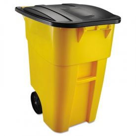 Rubbermaid® Commercial Square Brute Rollout Container, 50 gal, Yellow