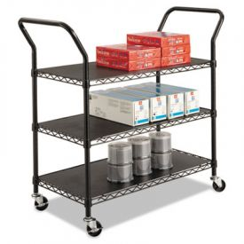 Safco® Wire Utility Cart, 3-Shelf, 43-3/4w x 19-1/4d x 40-1/2h, Black