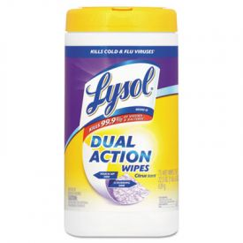 LYSOL® Brand Dual Action; Disinfecting Wipes, Citrus, 7 x 8, White