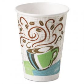 Dixie® PerfecTouch Paper Hot Cups, 12 oz, Coffee Haze Design
