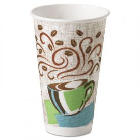 Dixie® PerfecTouch® Paper Hot Cups, 16 oz, Coffee Haze Design