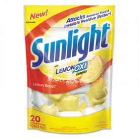 Sunlight® Auto Dish Power Pacs, Lemon Scent, 1.5 oz Single Pouches