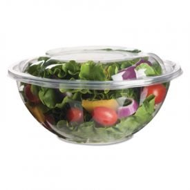 Eco-Products® Salad Bowls with Lids, Plant-Based Plastic, 24 oz