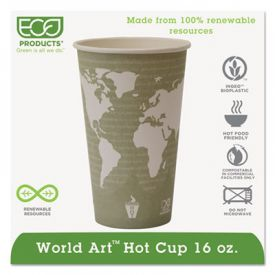 Eco-Products® World Art Hot Cups, 16 oz, Sea Green